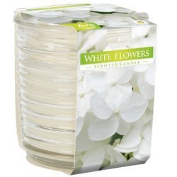 Bispol scented candle ribbed decorative glass 130 g - White Flowers