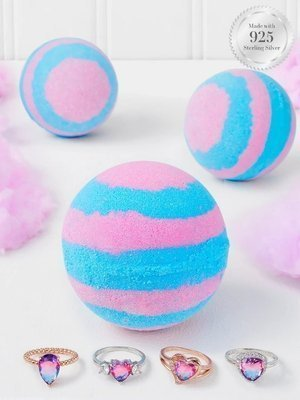 Charmed Aroma Cotton Candy jewel bath bomb with Silver Ring