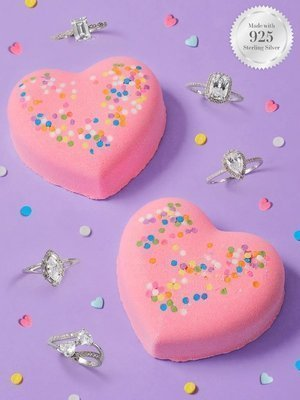 Charmed Aroma Heart Confetti jewel bath bomb with Silver Ring