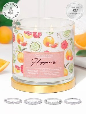 Charmed Aroma jewel soy scented candle essential oils with Silver Ring 12 oz 340 g - Happiness