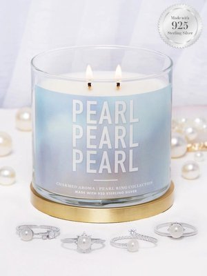 Charmed Aroma jewel soy scented candle with Silver Ring 12 oz 340 g - Pearl