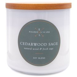 Colonial Candle Luxe large soy scented candle wooden wick 368 g - Cedarwood Sage