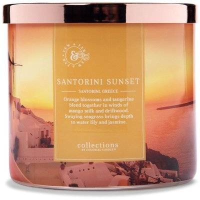 Colonial Candle Travel large soy scented candle 3 wicks 14.5 oz 411 g - Santorini Sunset