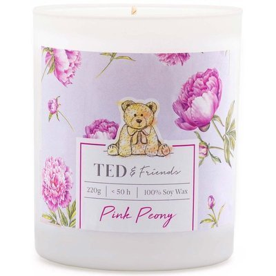 Ted & Friends scented soy candle in white glass 220 g - Pink Peony
