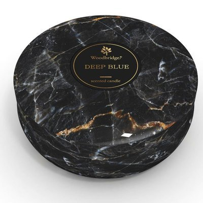 Woodbridge marble scented tin candle 3 wicks 470 g - Deep Blue