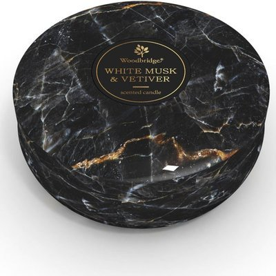 Woodbridge marble scented tin candle 3 wicks 470 g - White Musk & Vetiver