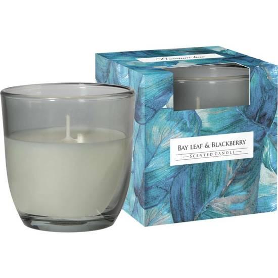 Bispol scented candle glass in box 100 g - Bay Leaf & Blackberry