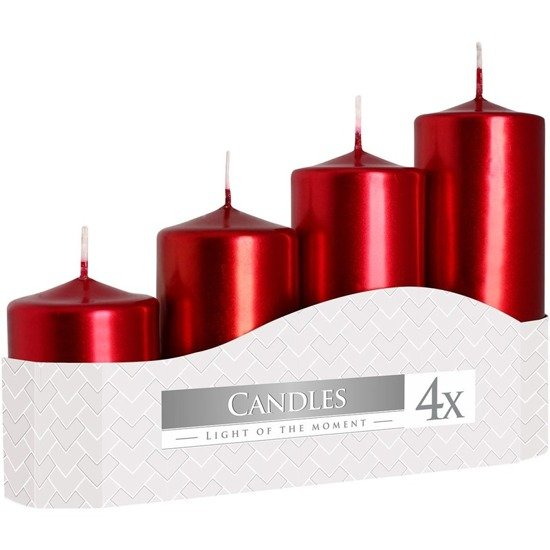 Bispol votive unscented solid candle set 4 pcs Advent - Red metallic