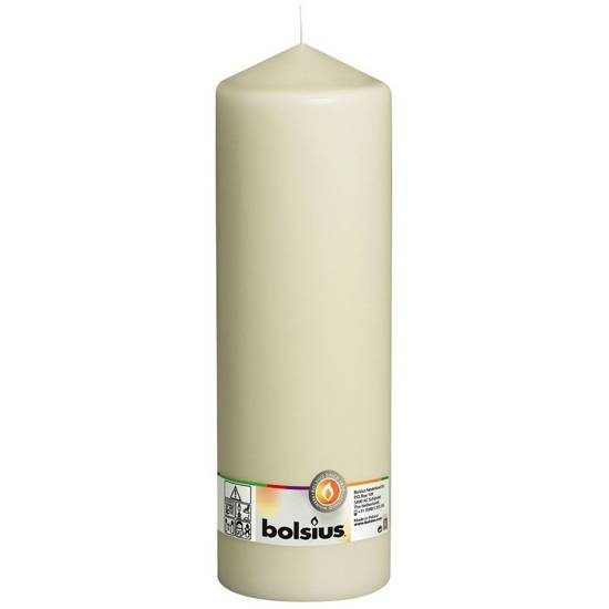 Bolsius pillar unscented solid candle 30 cm 300/98 mm - Ivory