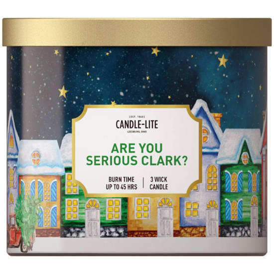Candle-lite Everyday large Christmas scented candle in glass with 3 wicks -  Are You Serious Clark?