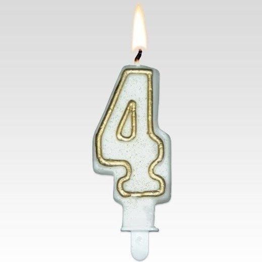 Tamipol świeczka urodzinowa cyferka biała ze złotym brokatem na urodzinowy tort - cyfra 4