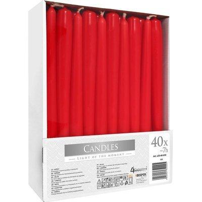Bispol świeca szpica długa do świeczników 245/23 mm zestaw 40 szt - Czerwona
