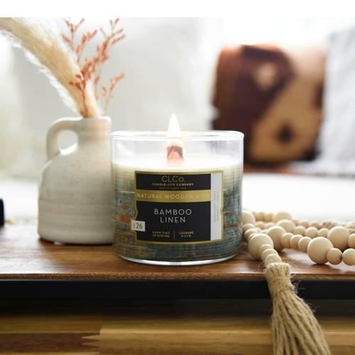 Candle-lite CLCo Candle Wooden Wick 14 oz luksusowa świeca zapachowa z drewnianym knotem ~ 90 h - No. 26 Bamboo Linen