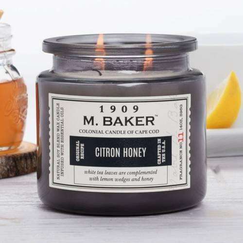 Colonial Candle M. Baker duża sojowa świeca zapachowa w słoju 14 oz 396 g - Citron Honey