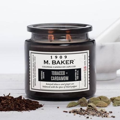 Colonial Candle M. Baker duża sojowa świeca zapachowa w słoju 14 oz 396 g - Tobacco & Cardamom