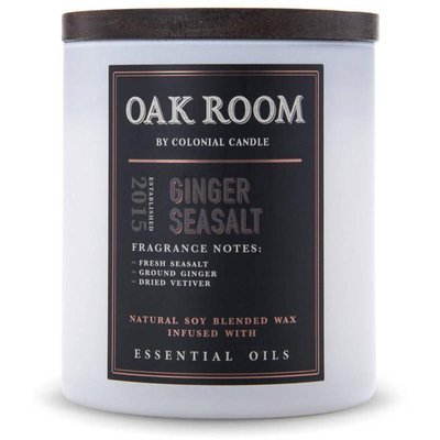 Colonial Candle Oak Room sojowa świeca zapachowa drewniany knot 15 oz 425 g - Ginger Sea Salt