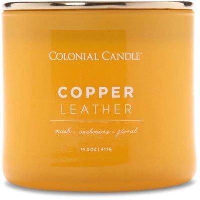 Colonial Candle Pop Of Color sojowa świeca zapachowa w szkle 3 knoty 14.5 oz 411 g - Copper Leather