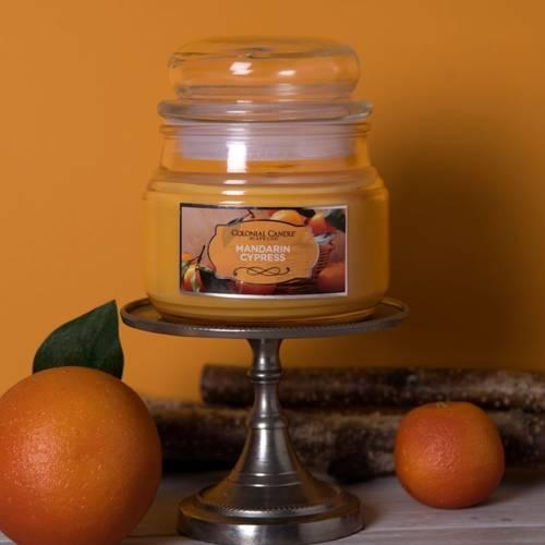 Colonial Candle pomarańczowa świeca zapachowa w szklanym słoju 9 oz 255 g - Mandarin Cypress