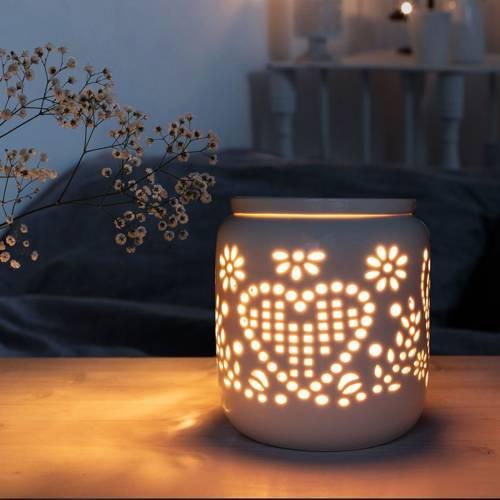 Elektryczny kominek do wosków zapachowych Romance biały