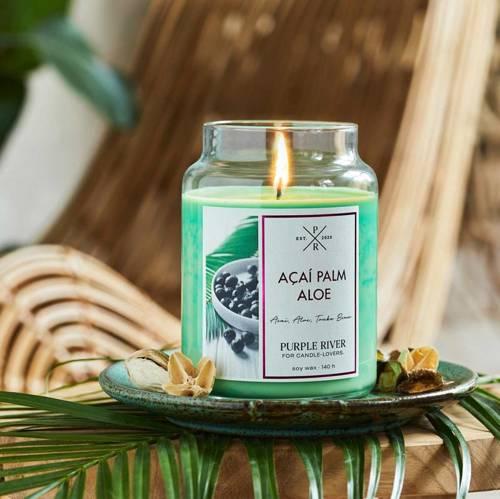 Purple River sojowa naturalna świeca zapachowa w szkle 22 oz 623 g - Acai Palm Aloe