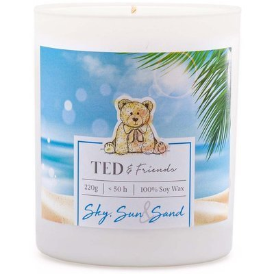 Ted & Friends sojowa świeca zapachowa w białym szkle 220 g - Sky, Sun & Sand