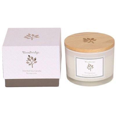 Woodbridge świeca zapachowa sojowa w szkle 3 knoty 370 g pudełko - Pomegranate