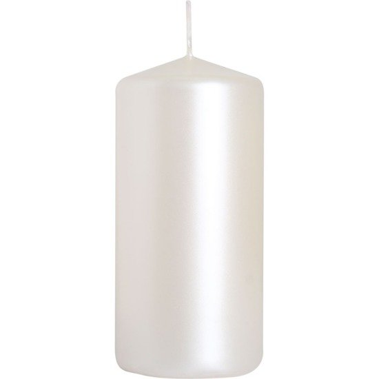 Bispol świeca bezzapachowa bryłowa pieńkowa słupek 100/48 mm - Biała perłowa