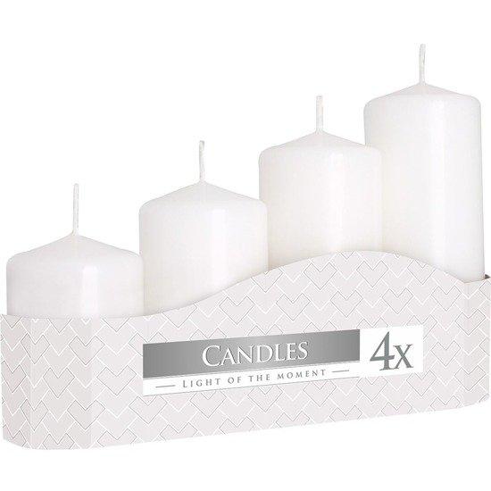 Bispol zestaw czterech świec bezzapachowych bryłowych pieńkowych 4 szt - Białe