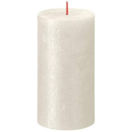 Bolsius Rustic Shimmer świeca bryłowa pieńkowa rustykalna metalizowana bezzapachowa 13 cm 130/68 mm - Kremowa Ivory