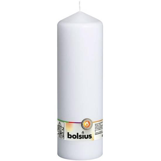 Bolsius świeca bryłowa pieńkowa słupek bezzapachowa 25cm 250/78 mm - Biały