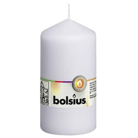 Bolsius świeca bryłowa pieńkowa słupek tradycyjna bezzapachowa 13 cm 130/68 mm - Biała