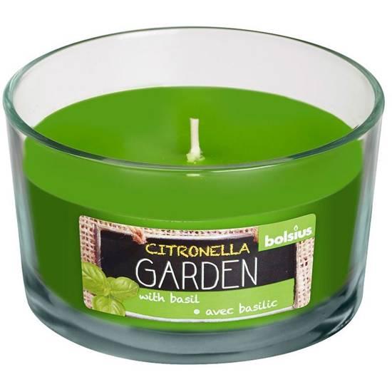 Bolsius świeca zapachowa antykomarowa w szkle zielona 62/106 mm - Citronella Bazylia Basil