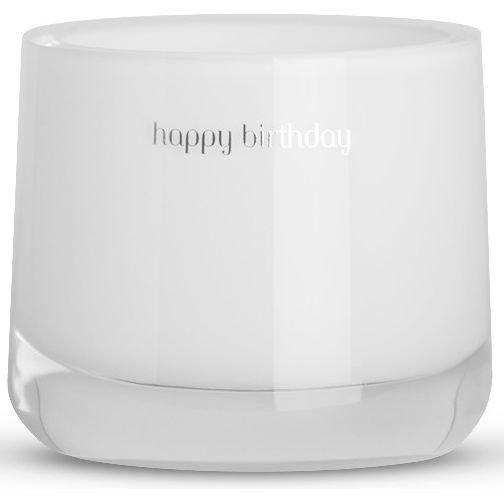 Message Candles White Message Candle świeca zapachowa w szkle biała Happy Birthday - Fig