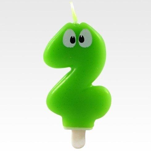 Tamipol świeczka urodzinowa cyferka zielona z oczkami dla dzieci na dwa latka - cyfra 2