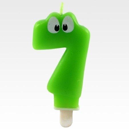 Tamipol świeczka urodzinowa cyferka zielona z oczkami dla dzieci na siódme urodziny - cyfra 7