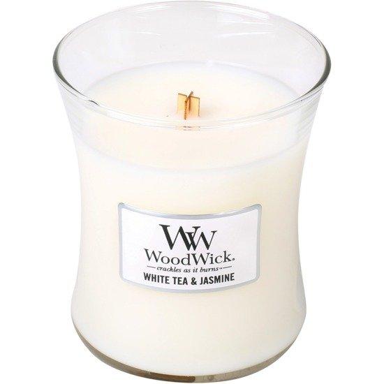 WoodWick Core Medium świeca zapachowa sojowa w szkle ~ 100 h - White Tea & Jasmine